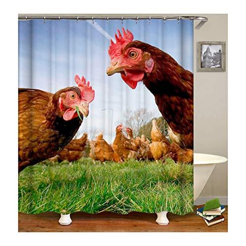 SonMo Duschvorhang Anti-Bakteriell Anti-Schimmel Wasserdicht Waschbar Badvorhang mit 12 Duschvorhangringen Polyester Hähnchen Bunt 180X180CM Z10797