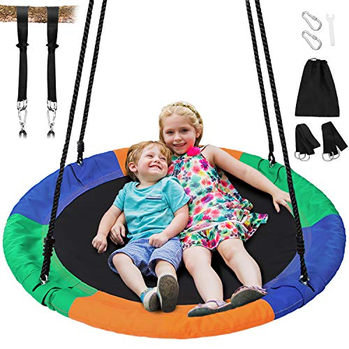 Sunkorto 40 Inch Flying Saucer Tree Swing, Round Indoor Outdoor Swingset with Hanging Strap Kit, 600lb Weight Capacity, Steel Frame & Adjustable Rope, Easy Install Swing Set for Kids Adults, Colorful