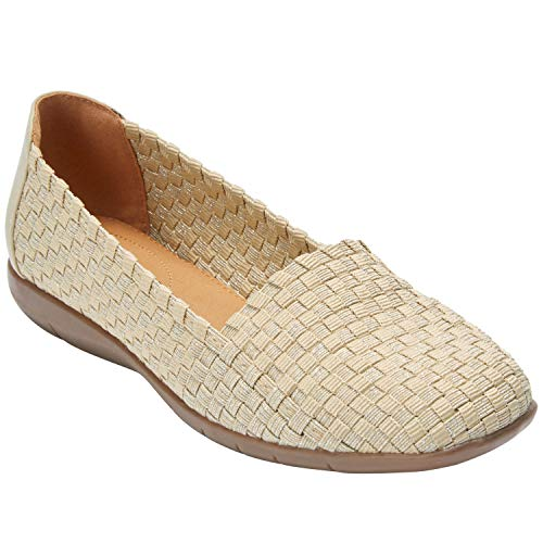 Comfortview Women's Wide Width The Bethany Flat Comfortable Woven Stretch Shoe Shoes - 11 W, Khaki Metallic