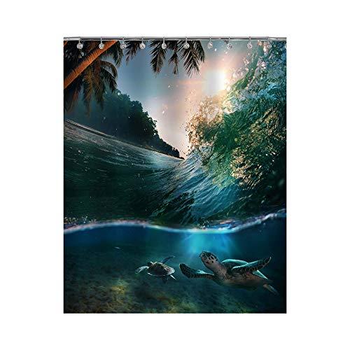 Big Green Turtles Tauchen Unterwasser Duschvorhang Ocean Surfen Wave Tuch