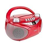REFLEXION CD-Player mit Kassette, USB, SD, UKW-Radio, AUX-Eingang, Netz- und Batteriebetrieb, rot Standard, RCR4655 rot