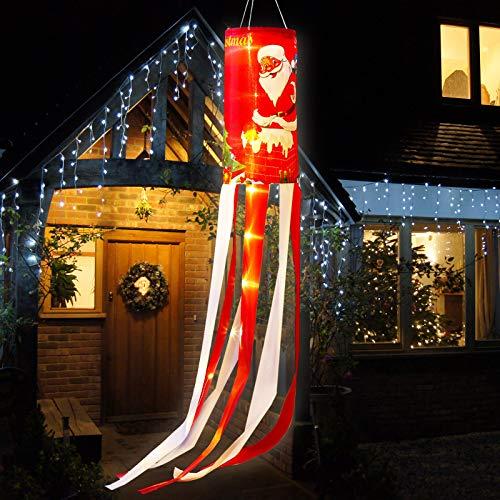 Weihnachten Windsack Flaggen Weihnachtsmann Winter Wetterfahne mit Warmweißen LED Lichtern, Weihnachten Outdoor Hängendes Dekor für Hof Garten Terrasse Weg Party Dekoration (1)