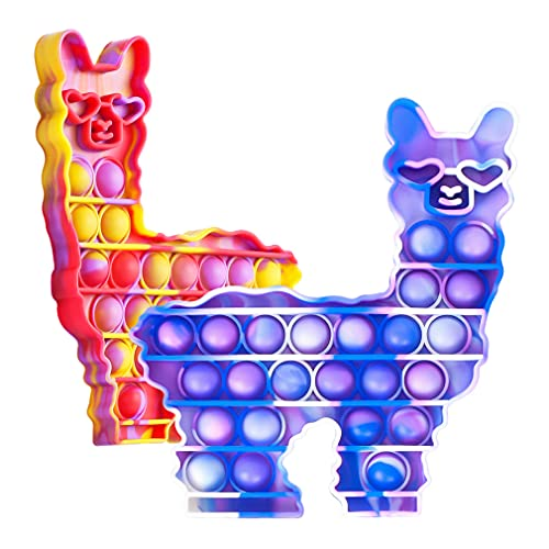 Fidget-POP-Toys-Llama Silicone Bubble Sensory, Alpaca Stress Anxiety Restless Reliever Decompression Squeeze Toy for Stressed, Fidgety and Autism, ASD, Autistic, ADHD Fidget 2 Pack for Girls