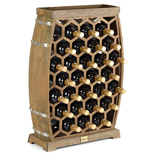 CHRISTOW Wooden Wine Rack Honeycomb, Free Standing With Top, Large 24 Bottle Storage Holder, Barrel Design, Gift For Wine Lover, H76.5cm