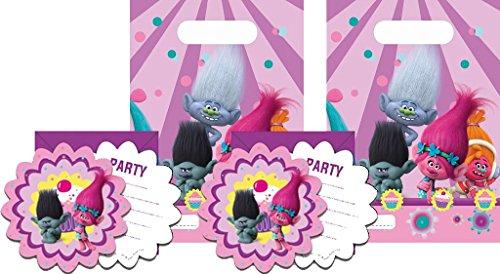 Party Pack TROLLS - 6 Stück Einladungskarten & 6 Stück Partytüten Trolls - Kinofilm