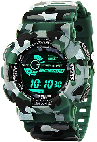 Emartos Digital Men's & Boys' Watch (Black Dial Green Colored Strap)