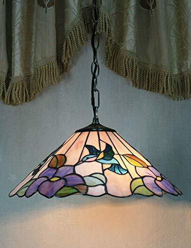 Colibrí pastoral de 8 pulgadas, flor púrpura, lámpara colgante, lámpara de techo, porche