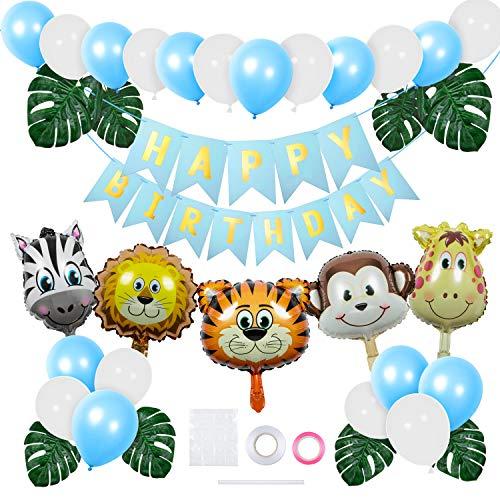 Jolintek Selva Fiesta de Cumpleaños Decoración, Azul Globos Animales De La Selva Globos Helio Decoración de Fiesta de La Selva con Hojas de Palma Globos Latex para Niño Niñas Cumpleaños Baby Shower