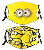 Cartoon Balaclava Face Mouth Cover Mask with Filter Pocket Adjustable Strap Reusable Washable Windproof (Cute-Minions)