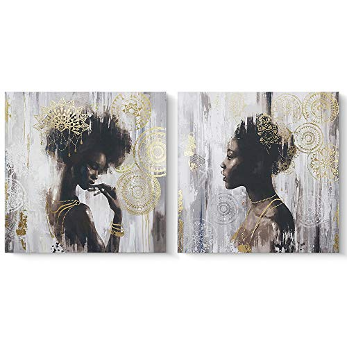 Pi Art African American Gold Wall Art Set, Canvas Print Wall Painting Modern Home Decor, Stretched Ready to Hang (24x24 inch, A & B Framed)