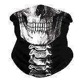 YJZQ Cagoule Halloween Masque 3D Bandana à Visage Unisexe thème Tete de Mort Noir Déguisement de fête Tours de Cou sans Coutures pour Moto Vélo Randonnée Ski