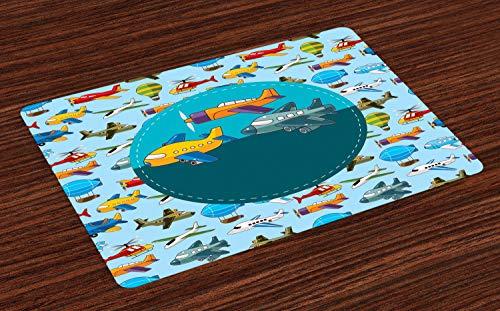 ABAKUHAUS Partij Placemat Set van 4, cartoon Vliegtuigen, Wasbare Stoffen Placemat voor Eettafel, Veelkleurig