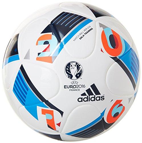 adidas Herren Ball EURO 2016 Sala Training, White/Bright Blue/Night Indigo, FUTS