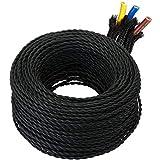GreenSun - Cable de tela para lámpara (10 m, revestimiento textil, 3 hilos, 0,75 mm², trenzado individualmente trenzado, para accesorios de lámpara), color negro