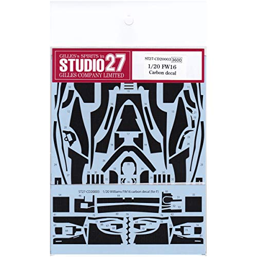 1/20 Williams FW16 Renault 1994 carbon fibre water slide decal set by Studio 27 ~ CD20003 to suit Fujimi kits.