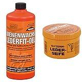 Pharmaka 32552 Bienenwachs Lederfit-Öl 1 l + GLYZERIN-LEDERSEIFE, Dose mit Schwamm, 250ml