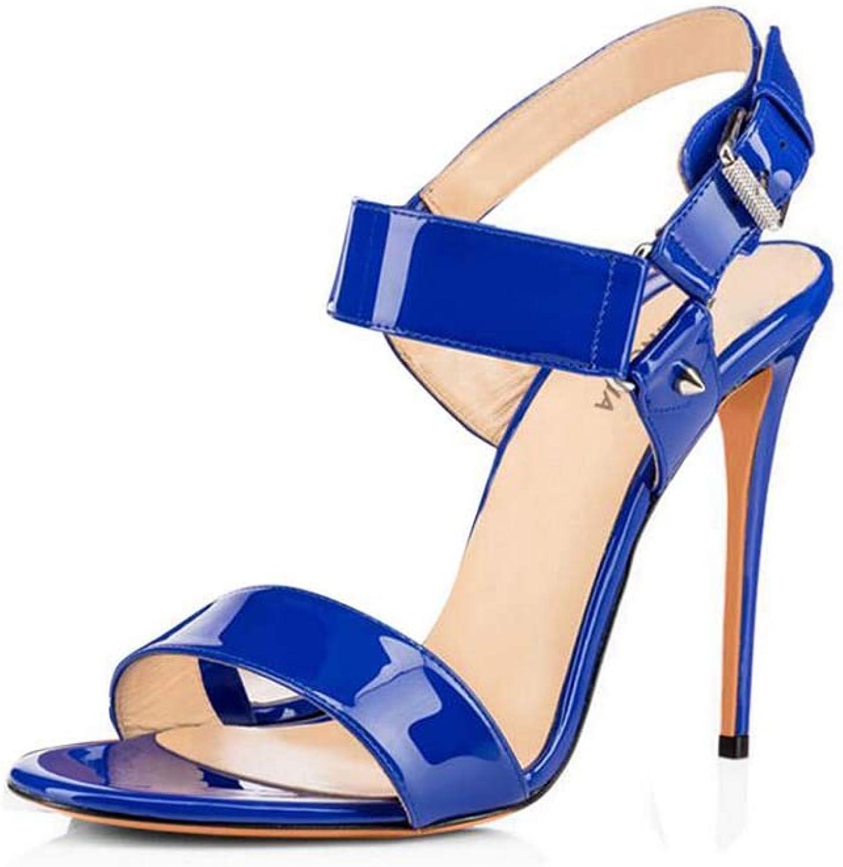 GHFJDO Schuhe der extremen hohen Abstze, Frauen-Sommer-Neue offene Zehe-Glatte Sandelholze, Art- und Weiseschnallen-Knchel-Bügel-Stilett-Fersen-Hochzeitsfest-Abendschuhe