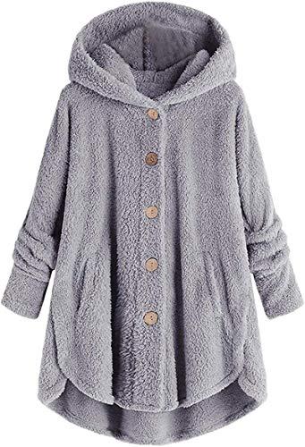 Womens Overcoat Hoodies Plus Size Bottons Down Fleece Jacket Irregular Hem Long Sleeve Cloak Coats with Pocket
