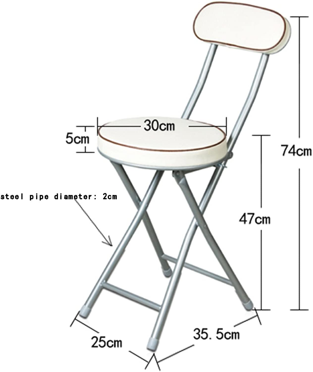 A-Fort Backrest Stool Folding Chair Small Round Chair Portable Leisure Computer Chair Office Chair (color   White)