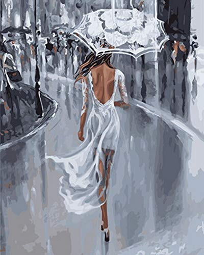 AGjDF DIY Frau mit Regenschirm Malen nach Zahlen Kit Malen Sie nach Nummer für Home Restaurant Bar Haus Dekor Rahmenlos 40x50cm