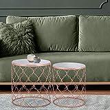 WOMO-DESIGN Set de 2 Tables d'Appoint Design Ø40 / Ø45 cm - Rondes - Plateau en Marbre Blanc de Banswara - Cadre...