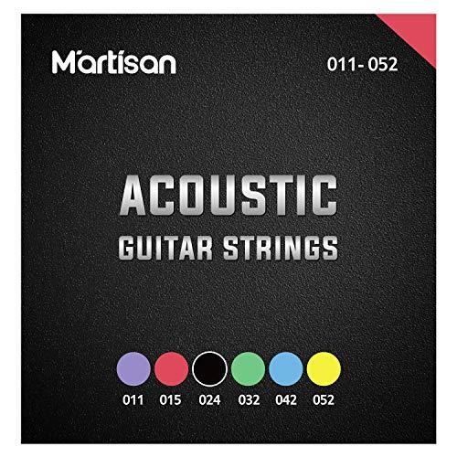 MARTISAN Gitarrensaiten für Westerngitarre Phosphor Bronze Saiten beschichtet für Western-Gitarre & Akustikgitarre (6 Saiten-Set mit Plektren) mit 3 Gitarren Plektren Coated Acoustic Guitar Strings
