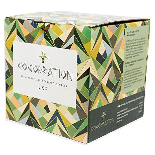 Cocobration 1Kg | Premium Shisha Kohle | 100{0bdbde3aedb3e43b0a3364ba8fcf915e824535a5bcbb4c9af492bc6e4a11c30c} Kokosnuss | für Shisha & Grill
