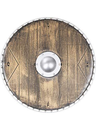 Funidelia | Escudo de Vikingo Guerrero de 40 cms para Hombre y Mujer Nrdico, Valkiria, Brbaro, Vikings - Marrn, Accesorio para Disfraz