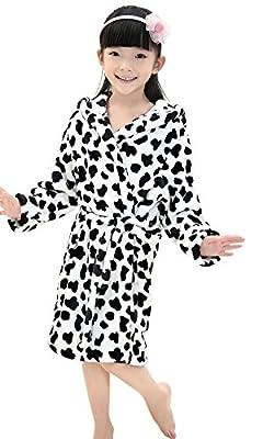 Kids Children Soft Coral Fleece Hooded Bathrobe Leopard Plush Velvet Sleepwear Robe Cover-up Wrap