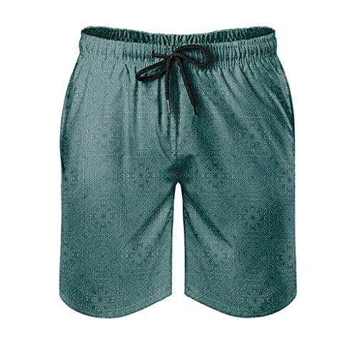 kikomia Pantalones cortos de playa para hombre, turquesa, abstracto, triángulo curvado, estampado tribal, con bolsillos, Hombre, Blanco, xxx-large