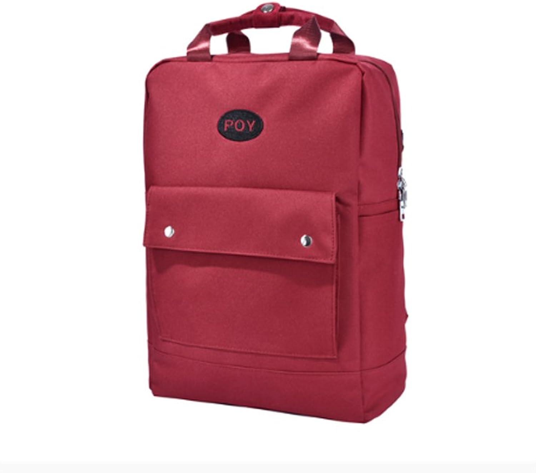 CQ New Pattern Shoulder Bag Multi Use Handbag Korean Version Art Girl Knapsack Wild Bag College Student Bag (color   Red, Size   30  13.5  41cm)