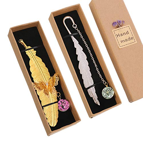 FRIUSATE 2 Stücke Metall Feder Lesezeichen, mit 3D-Schmetterling und Glasperlen Ewige trockene Blume Anhänger Ideales Geschenk für Erwachsene, Kinder und Studenten