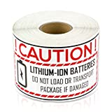 Lithium-Ion Battery Warning Label, 4x2 inch for Lithium-Ion Transport, Shipping and Mailing (White, 1 Roll, 300 Labels per Roll)