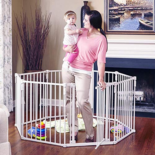 Toddleroo by North States 3-in-1 Metal Superyard: 198' long extra-wide gate, barrier or play yard. Hardware or freestanding. 8 panels, 19 sq.ft. enclosure (30' tall, Beige)