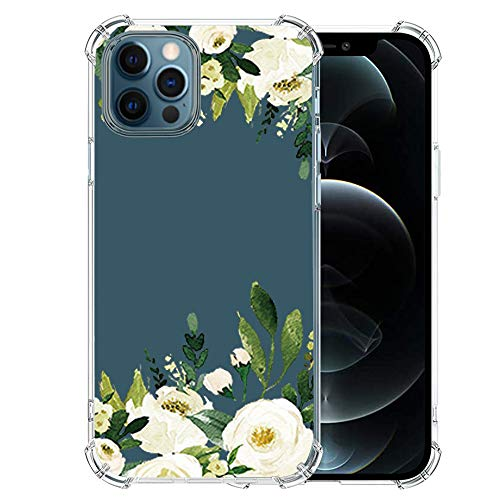 Girls-iPhone-12-Pro-Max-Case with Glass Screen Protector, Cute Design Transparent Flower for Girls-Women-Best-Protective-Slim-Fit-Clear-TPU-Soft-Silicone Cover Phone Case for iPhone 12 Pro Max (22)