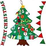 Shanke DIY Árbol de Navidad Artificial de Fieltro con Adornos 33 pcs con 2 banderas para...