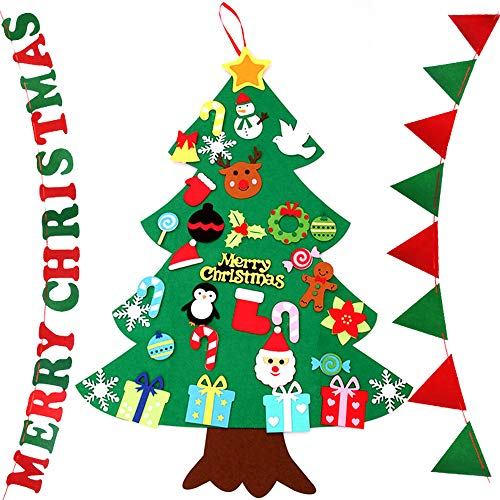 anaoo Albero di Natale in Feltro Decorazioni Natalizie Parete per Bambini , Christmas Tree Set con 26pcs Ornamenti Rimovibili DIY Fai da Teazione di Natale