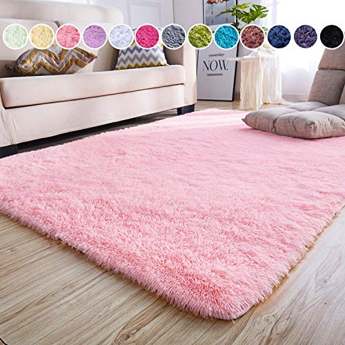 Junovo Ultra Soft Contemporary Fluffy Thick Indoor Area Rug Home Decor Living Room Bedroom Kitchen Dormitory,4' x 5.3',Pink