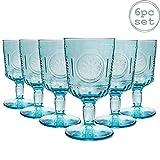 Bormioli Rocco Romantic - Juego de Copas para Vino - Diseño Italiano Tradicional - Azul - 320ml - Pack de 6