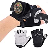 MSKJ Cycling Semi-Finger Gloves with Rear View Mirror Outdoor Bicycle Riding Non-Slip Breathable Cycling Gloves