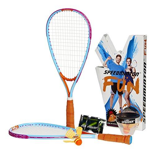 Speedminton FUN Set - Alternative zu Beachball/Federball inkl. 2 HELI Speeder für Strand, Park, Garten