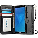 J&D Compatible para Huawei Honor 7X Funda, [Protección de Cartera] [Soporte Plegable] Funda Pesada Resistentes Billetera para Huawei Honor 7X Funda Cuero - Negro