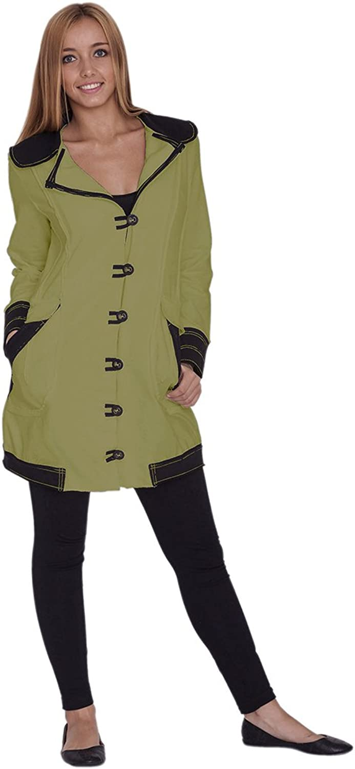 Neon Buddha Women's Lightweight Cotton Jacket Female Casual Trench Coat with Oversized Notched Collar and Toggle Buttons