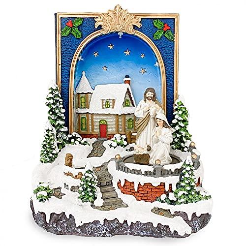 Mediawave Store - Pueblo navideño con forma de libro con Natividad, Móvil navideño, pueblo de Navidad, Paisaje nevado, Móvil con Belén, luces, sonidos, movimiento.