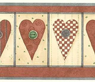 Country Button Hearts Wallpaper Border DM7145b
