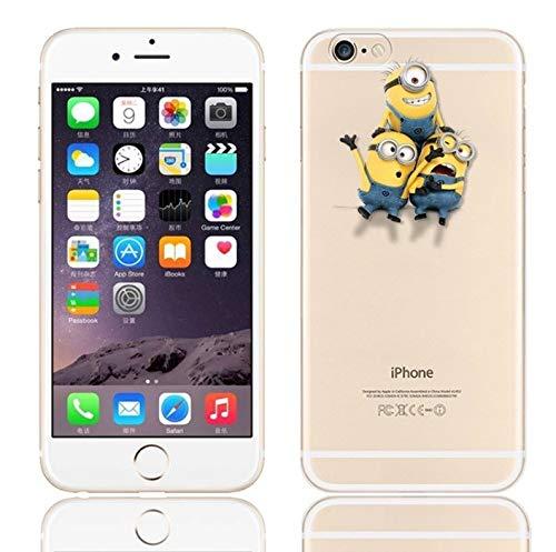 Shot Case Cover Silicone per iPhone 6/6S N ° 1 Kevin Minions Bob Dave Stuart Mela Cartoon Protezione Gel Morbida Custodia - Trasparente