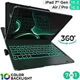iPad Keyboard Case for iPad 10.2 2019, iPad Air 10.5 2019, iPad Pro 10.5 2017 - Backlit - 360 Rotatable - Wireless - iPad 7th Generation Case with Keyboard - iPad Air 3rd Generation (Midnight Green)