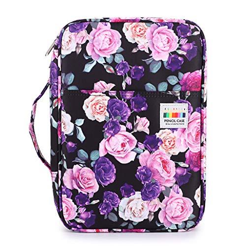 BTSKY Colored Pencil Case 300 Slots Pen Pencil Bag Organizer with Handy Wrap Portable- Multilayer Holder for Prismacolor Crayola Colored Pencils & Gel Pen Purple Rose