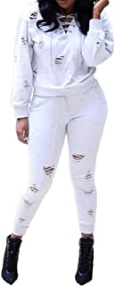FSSE Womens 2 Sport Casual Outfits PCS Sweatshirt Pants Ripped Destroyed Lace Up Tracksuit Sets