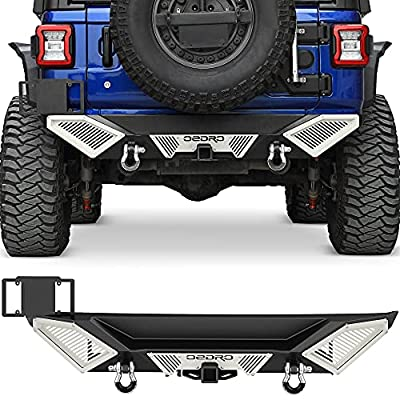 OEDRO Rear Bumper Combo Compatible with 2018-2021 Jeep Wrangler JL & Unlimited JLU (2/4 Doors),Off Road Full Width with Hitch Receiver & D-Rings & Paintable Armor